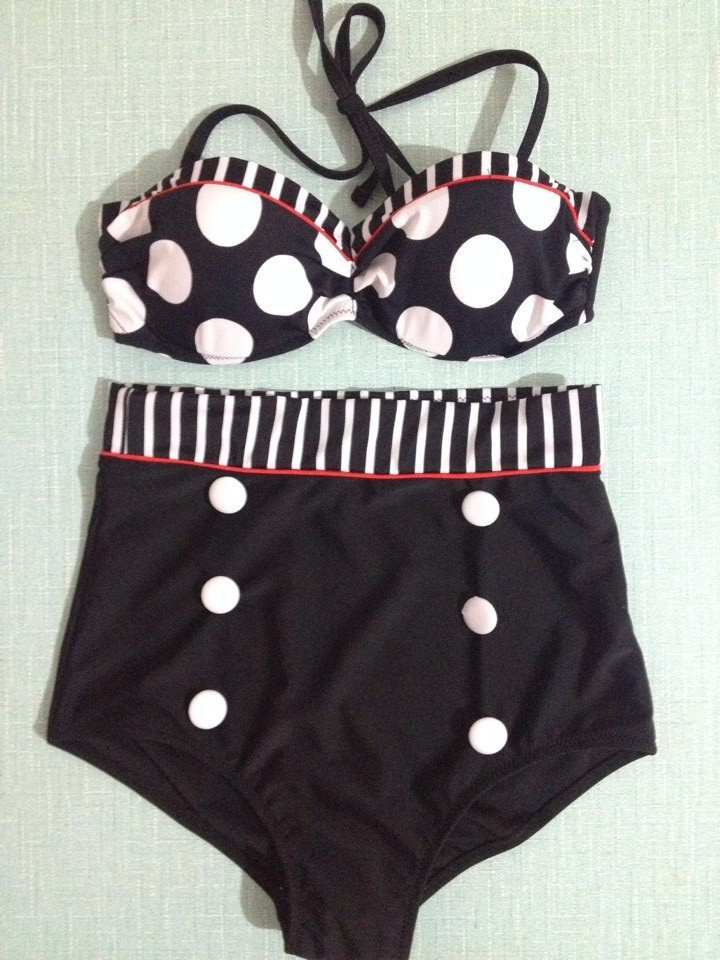 Drop Shipping 2014 Cutest Retro Swimsuit Swimwear Vintage Pin Up High Waist Bikini Set S/M/L For Women -in Bikinis Set from Apparel & Accessories on Aliexpress.com