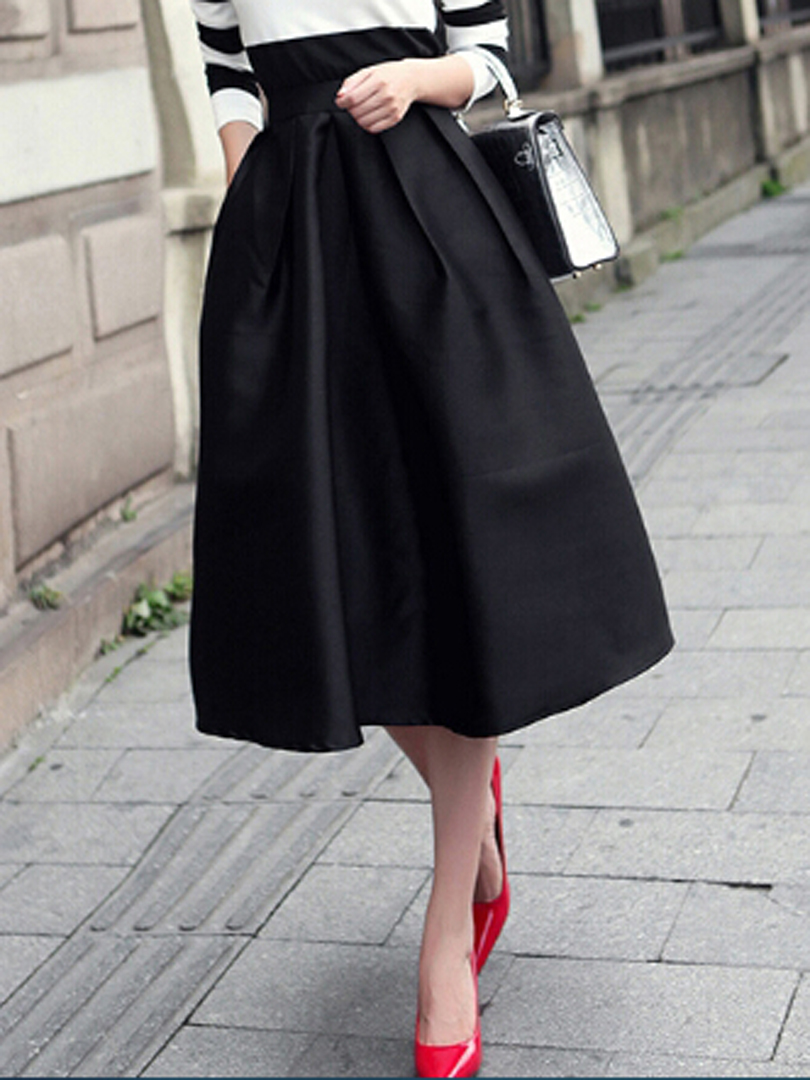 High Waist Ruched Midi Skirt - Choies.com