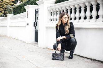 lydia elise millen blogger coat jewels pants shoes bag handbag black jacket boots black pants black leather pants leather pants pointed boots black boots pointed toe boots