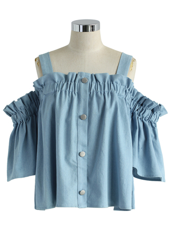 top ruffle chambray top blue off the shoulder