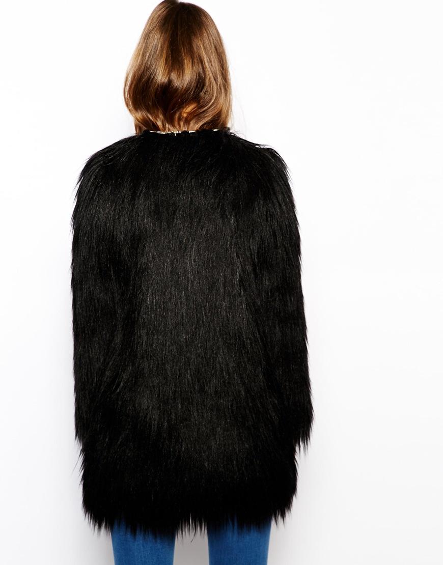 Unreal Fur Wanderlust Coat in Black Faux Fur at asos.com