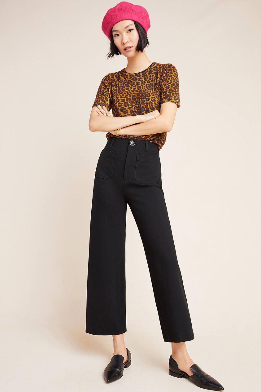 Courtney Cropped Wide-Leg Pants by Anthropologie in Black