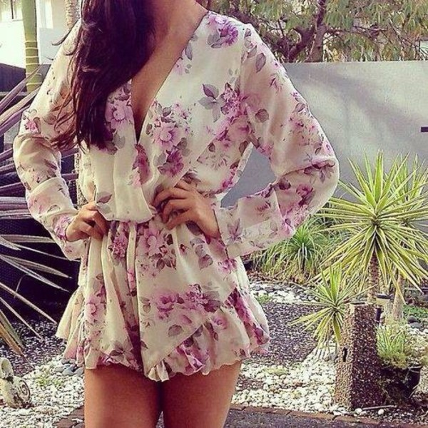 romper jumpsuit romper flowers spring long sleeves shorts chiffon summer outfits blouse