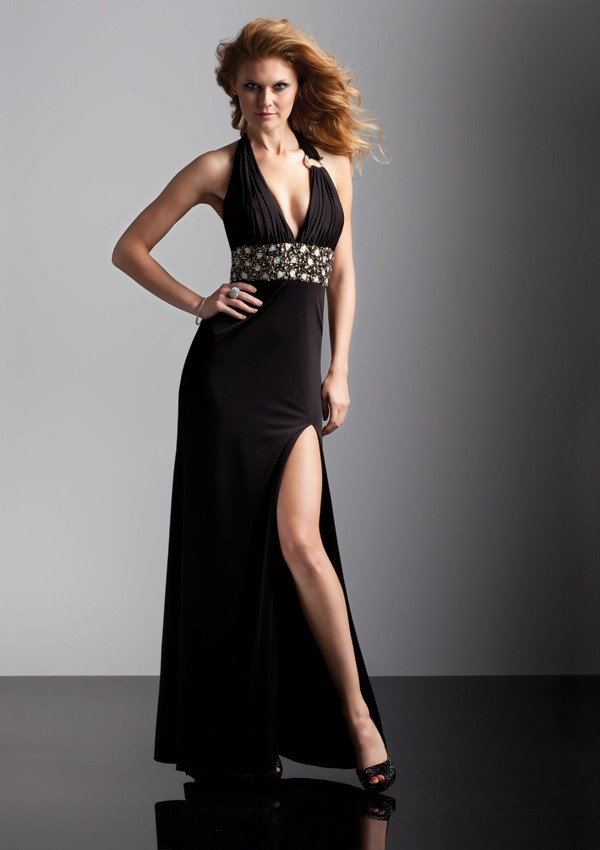 Halter Floor Length Elastic Satin Beading Sheath Column Prom Dress Oft0018