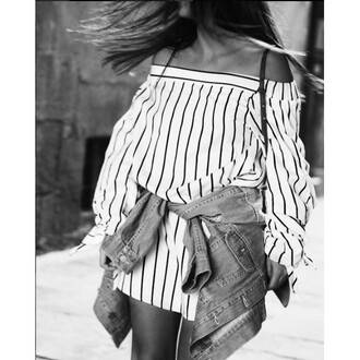 blouse stripes bow storets off the shoulder