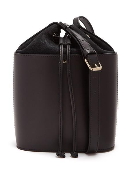 A.P.C. drawstring bag bucket bag suede black