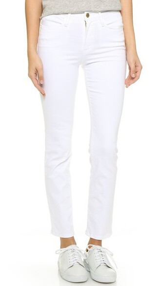jeans straight jeans high blanc