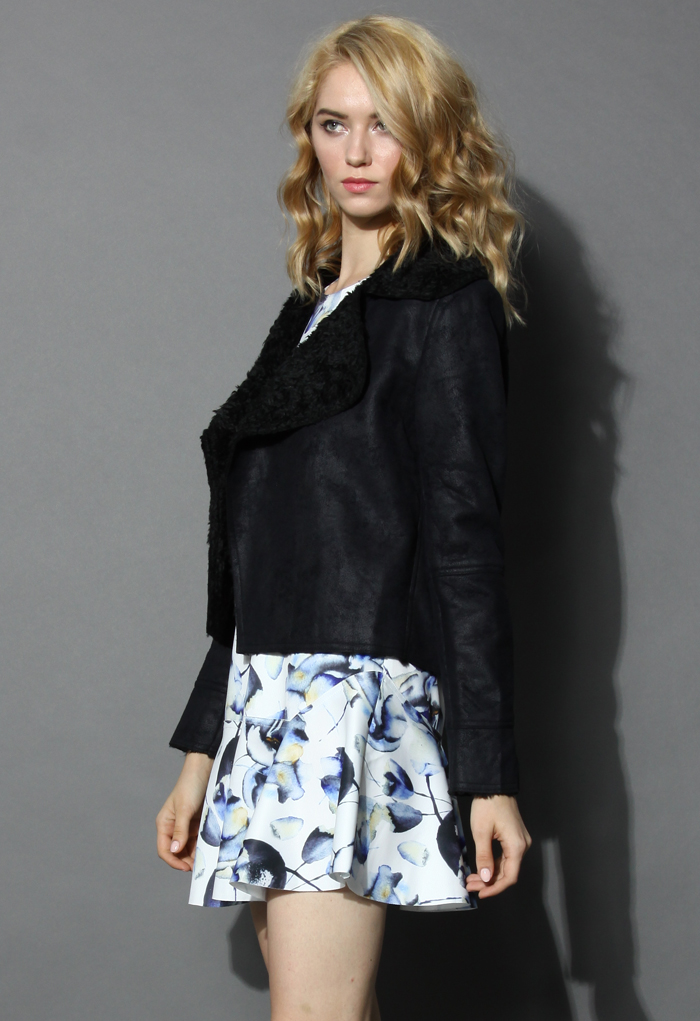 Matted Black Shearling Jacket - Retro, Indie and Unique Fashion