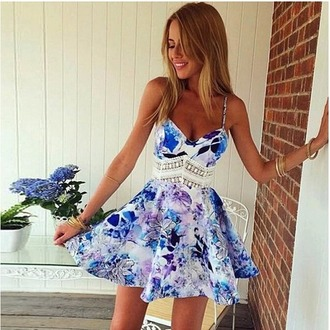 dress blue dress floral dress spaghetti strap clubwear cute cute dress summer dress lace dress