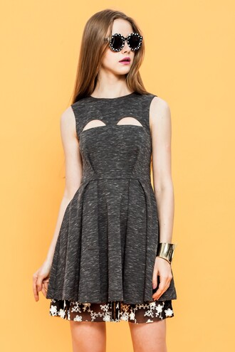 cut-out dress flare dress