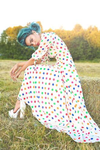 xander vintage blogger polka dots colorful maxi dress cleated sole green hair