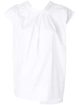 blouse back women white cotton top