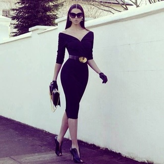 earrings jewels fashion gold bag high heels winter outfits black shoes sexy sexy dress décolté classy sunglasses belt skirt winter dress heels make-up evening dress streetwear streetstyle off the shoulder dress pencil dress
