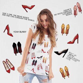 t-shirt yeah bunny high heels girly super cute shoes red shoes
