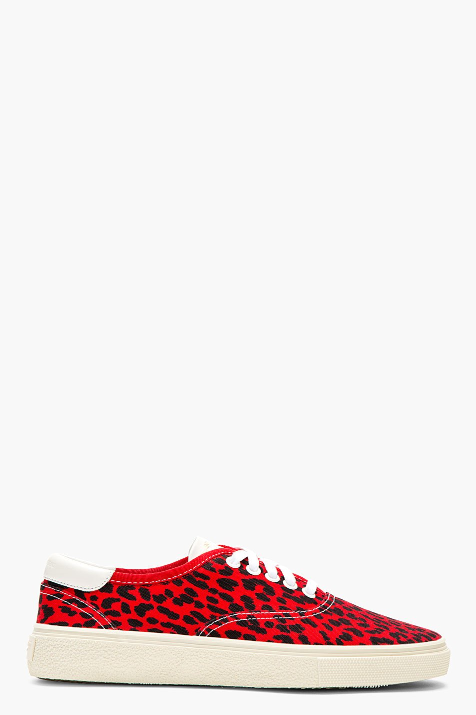 Saint Laurent Red Babycat Lace Up Sneakers