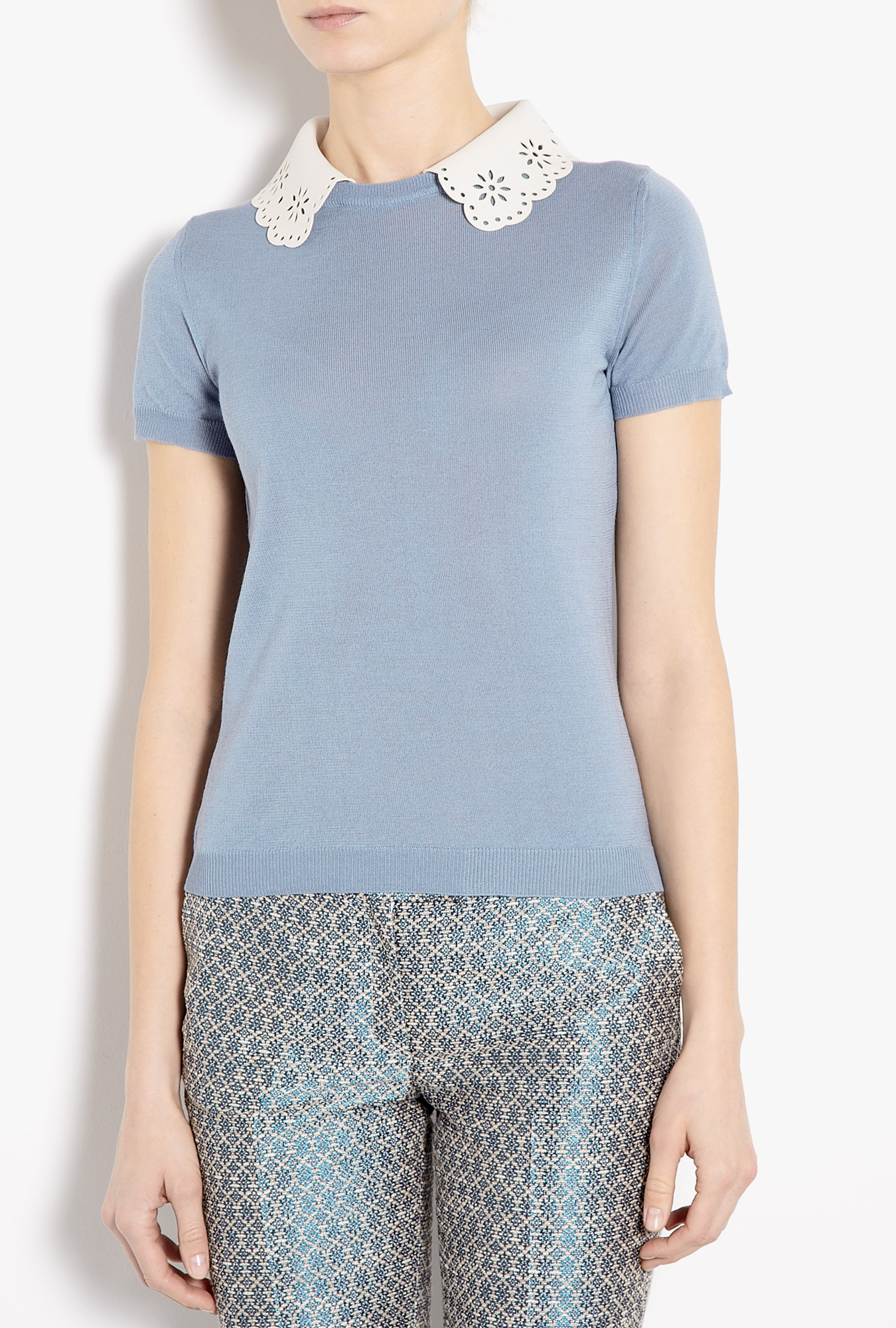Cutwork detachable collar short sleeve jumper by moschino cheap & chic