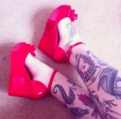 shoes,wedges,red,red wedges,bow,tattoo,straps,patent leather