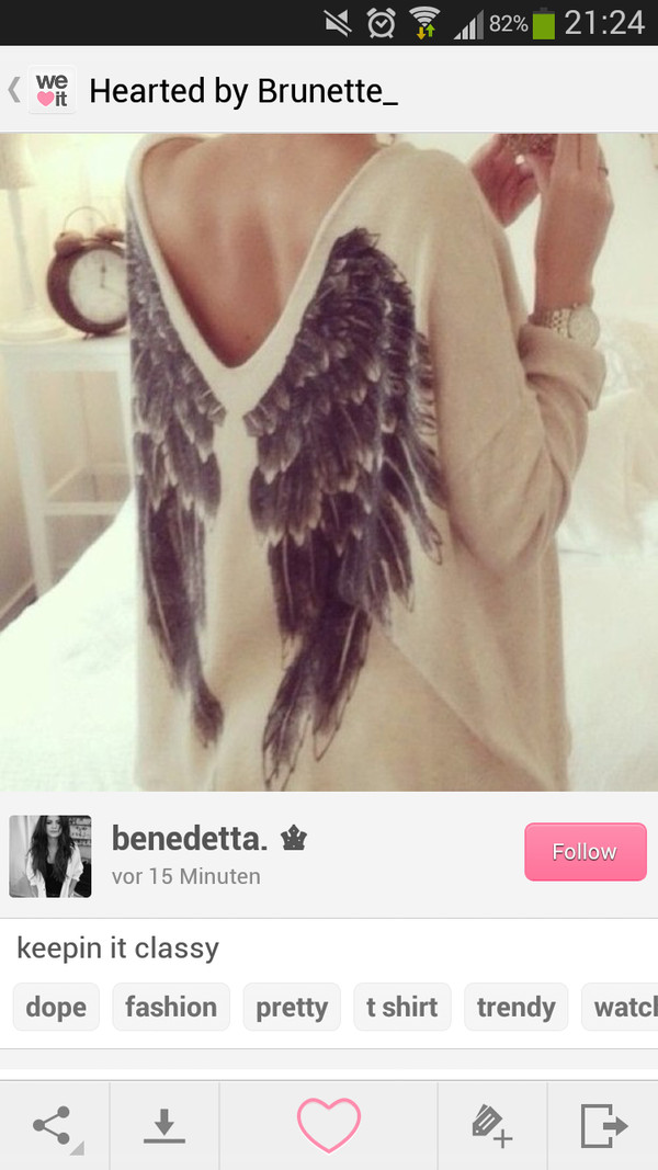 shirt wing sweater angel wings vintage black nude pretty beautiful