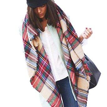Binmer(tm) newest hot sale pashmina lady beautiful warm fashion wool blend blanket oversized tartan scarf wrap shawl plaid checked at amazon women's clothing store: