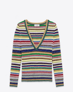 Saint laurent deep v neck sweater in multicolor striped silk and polyamide