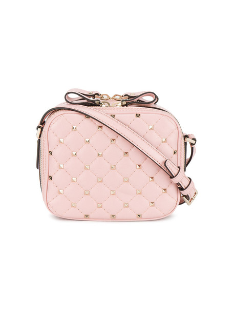 Valentino cross metal women bag leather purple pink pink leather