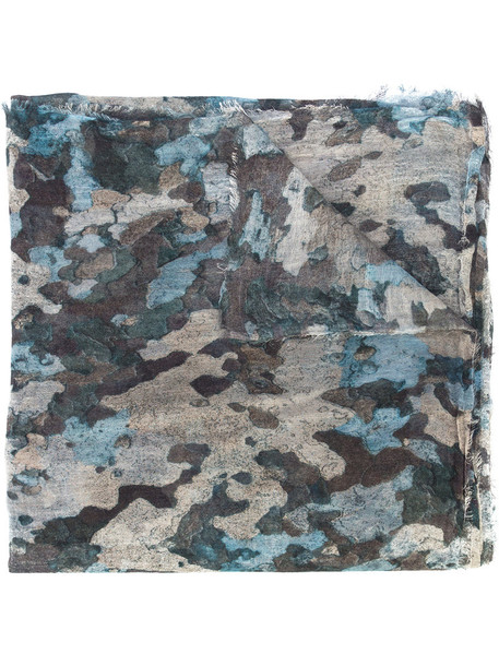 faliero sarti women scarf cotton blue silk