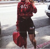 shorts,bape,black,ripped,summer,cute,tumblr,cropped sweater,cropped hoodie,red bag