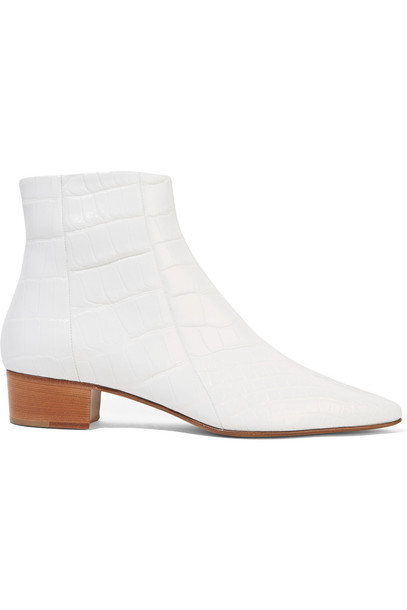 The Row Ambra Glossed-Alligator Ankle Boots in white