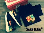 shirt,floral,shoes,nike,roshe runs,nikes,neon,nike roshe run,runs,t-shirt,black,summer