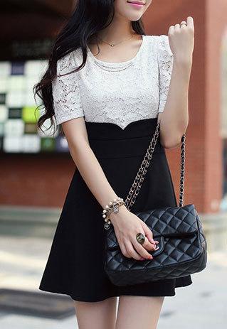 shopbazar shopping mall — [grzxy6601712]Contrast Color Embellished Crewneck Short Sleeve Lace Dress