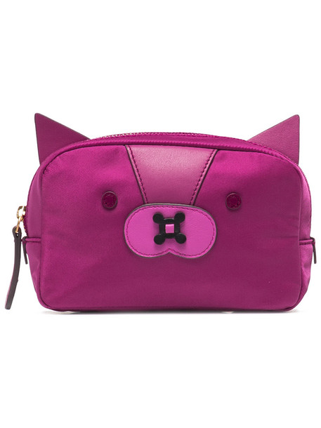 Anya Hindmarch fox women pouch purple pink bag
