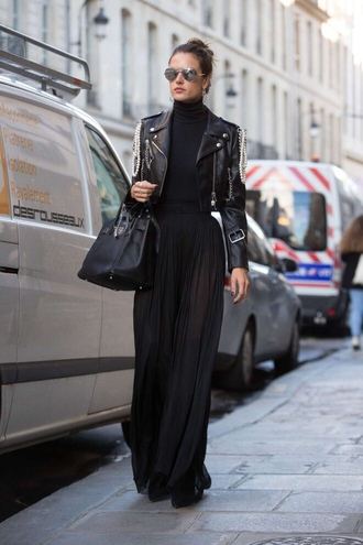 skirt all black everything streetstyle alessandra ambrosio model off-duty turtleneck fall outfits maxi skirt jacket black turtleneck top cropped jacket black jacket black leather jacket leather jacket black skirt aviator sunglasses mirrored sunglasses