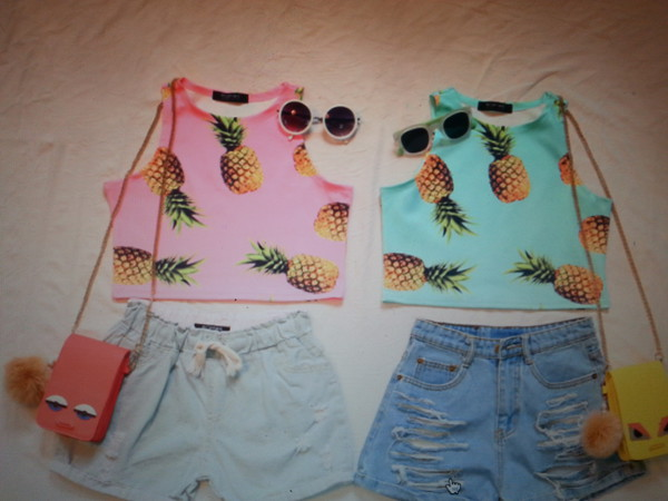 elastic waist tie waist rips ripped light holes jeans top summer fashion pineapple bag summer outfits