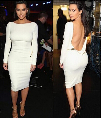 backless white dress sleeve party dress zipper pencil dress bodycon dress bandage dress sexy dress fall outfits zip dress