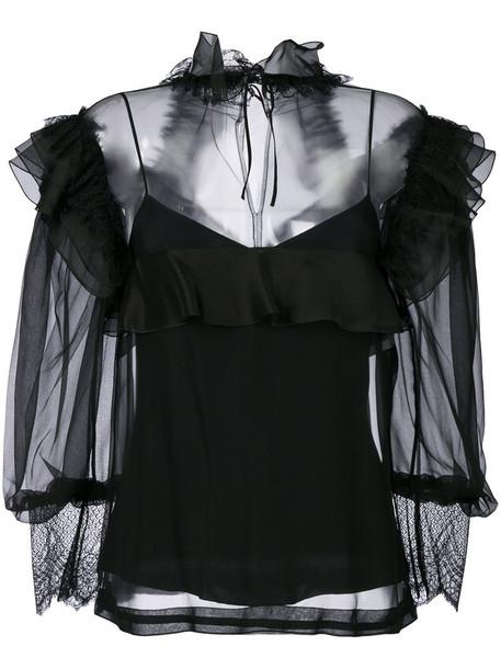 Alberta Ferretti - ruffle and mesh blouse - women - Silk/Polyamide/Acetate/other fibers - 42, Black, Silk/Polyamide/Acetate/other fibers