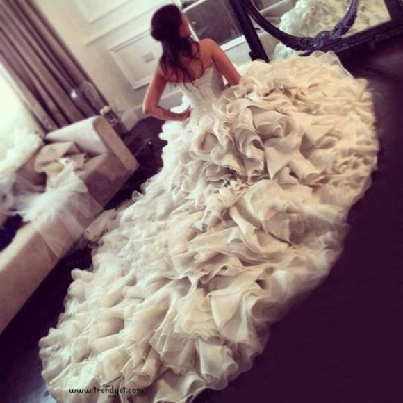 dress gown white frills dream dress wedding dress
