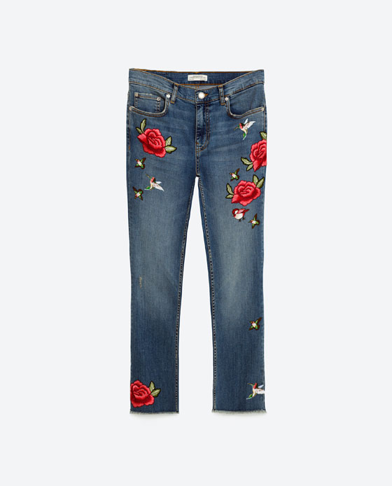 Cropped embroidered jeans view all woman zara