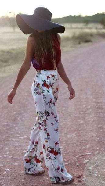 pants white pants roses floral pants beach pants white wide legged rose floral