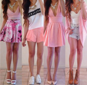 dress,cardigan,t-shirt,tank top,blouse,skirt,pink dress,outfit,girly dress,day dress,top,jewels,socks,shorts,shoes,accessories