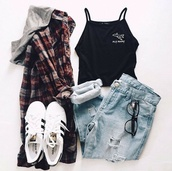 jacket,coat,tumblr,outfit,winter outfits,fall outfits,adidas,jeans,shoes,tank top,glasses,hoodie,black,fly,adidas superstars,top,grunge,flannel shirt,crop tops,tumblr outfit,cute,aesthetic,pastel,halter crop top,halter top,graphic tee,fashion,flannel with hoodie,sweater,red plaid striped sweater with grey hood