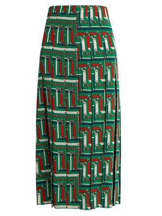 skirt pleated print silk green