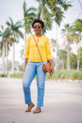 pinksole blogger jewels sweater jeans bag fall outfits crossbody bag flats yellow cardigan
