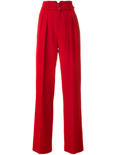 Red Valentino - high waist straight trousers - women - Polyester/Spandex/Elastane/Acetate/Viscose - 38, Polyester/Spandex/Elastane/Acetate/Viscose