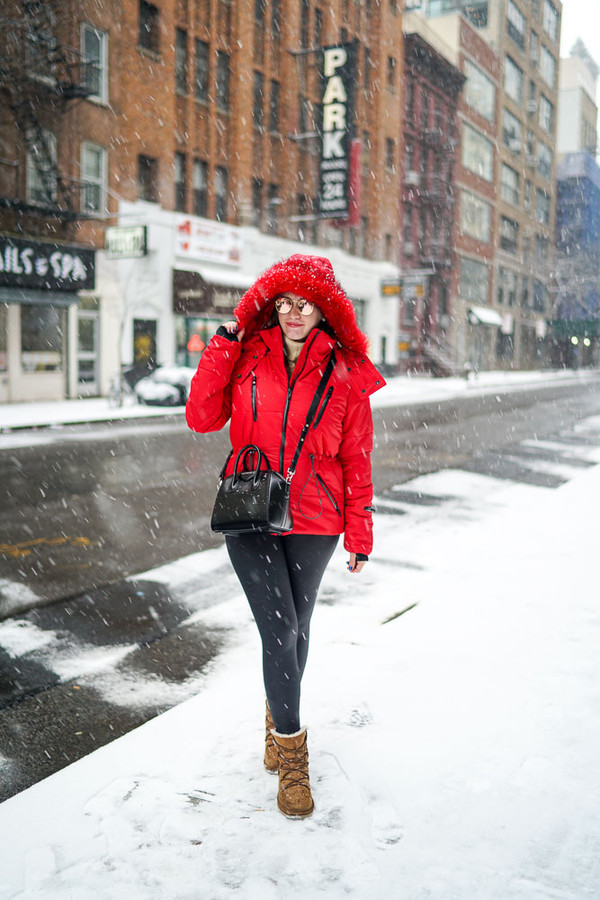 Covering Bases Blogger Red Coat Puffer Jacket Red