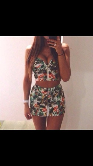 skirt crop tops tropical