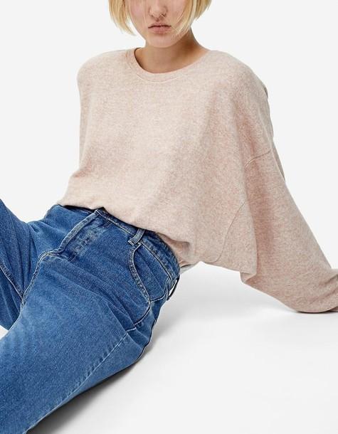 Stradivarius t-shirt shirt t-shirt nude pink top