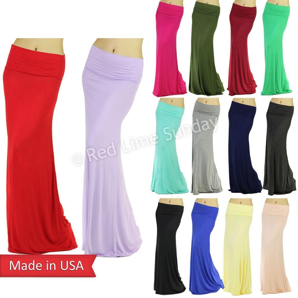 Urban fashion soft jersey rayon fold over color long maxi skirt regular plus usa