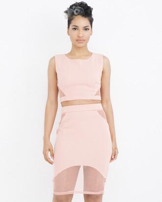 skirt outfit outfit set pencil skirt crop tops mesh skirt mesh crop top