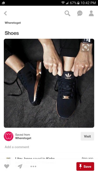 shoes black gold sneakers adidas