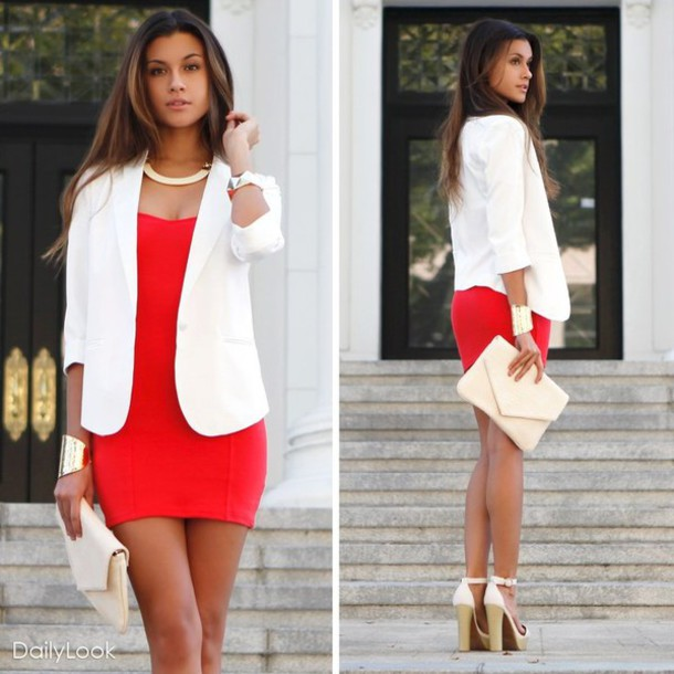 ebe6e12e5738b jacket white shoes white blazer elegant blazer shoes high sandals red dress  dress bodycon dress short
